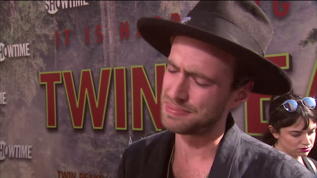 exterior interview with finn andrews on twin peaks premiere red carpet on 20th may 2017 los angeles united states - fernsehserie stock-videos und b-roll-filmmaterial