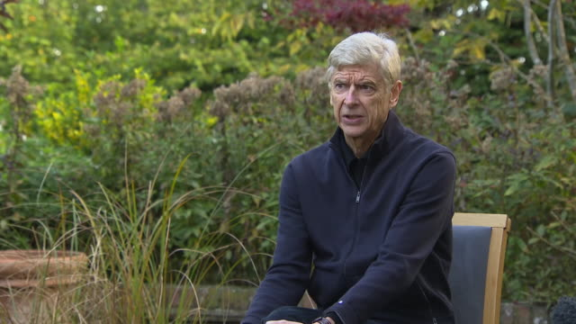 exterior interview with former arsenal manager, arsene wenger, responding to a question about covid-19 and empty stadiumsl, in london on 15 october... - biography stock videos & royalty-free footage