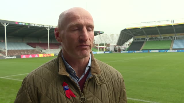 exterior interview with former welsh rugby captain gareth thomas on breaking the stigma of hiv on 8 november 2019 in twickenham united kingdom - gareth thomas rugby player stock videos & royalty-free footage