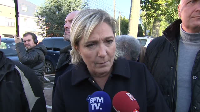 exterior interview with french national front leader marine le pen on donald trump's victory in the us presidential elections, in french on november... - ポピュリズム点の映像素材/bロール