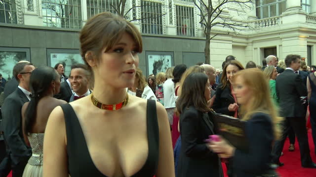 Exterior interview with Gemma Arterton at the Olivier Awards 2015 on April 12 2015 in London England