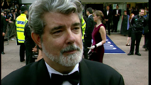 exterior interview with george lucas about the making of star wars episode i the phantom menace on july 14 1999 in london england - star wars stock videos & royalty-free footage