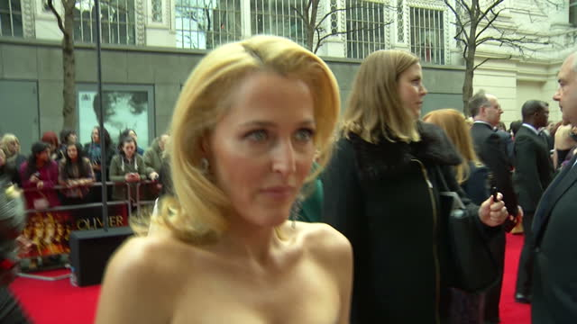exterior interview with gillian anderson at the olivier awards 2015 on april 12 2015 in london england - gillian anderson stock videos & royalty-free footage