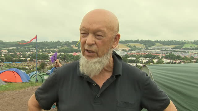 Exterior interview with Glastonbury Festival organiser Michael Eavis on the visit by Labour leader Jeremy Corbyn on 24 June 2017 in Glastonbury...