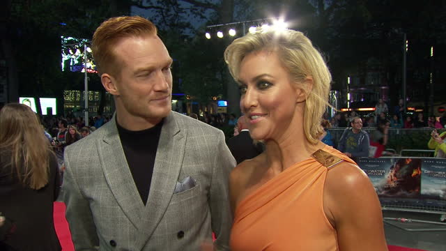 vidéos et rushes de exterior interview with greg rutherford and natalie lowe about strictly come dancing at the premiere of deepwater horizon at leicester square on... - marée noire