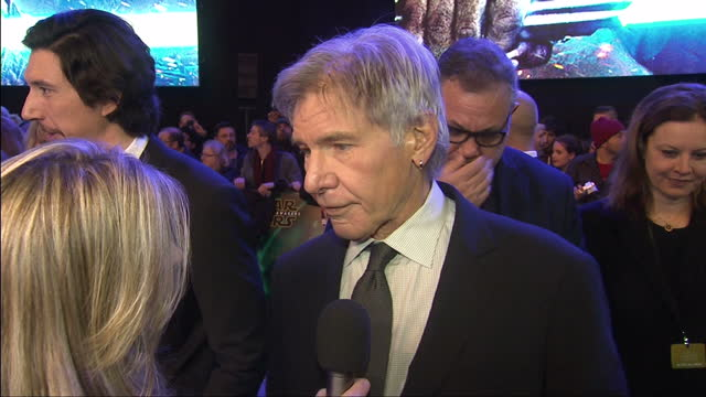 exterior interview with harrison ford at the premiere of star wars the force awakens about the new cast of the film his scenes with princess general... - star wars stock videos & royalty-free footage