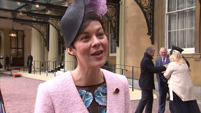 Exterior interview with Helen McCrory about receiving her OBE from the Queen on November 07 2017 in London England