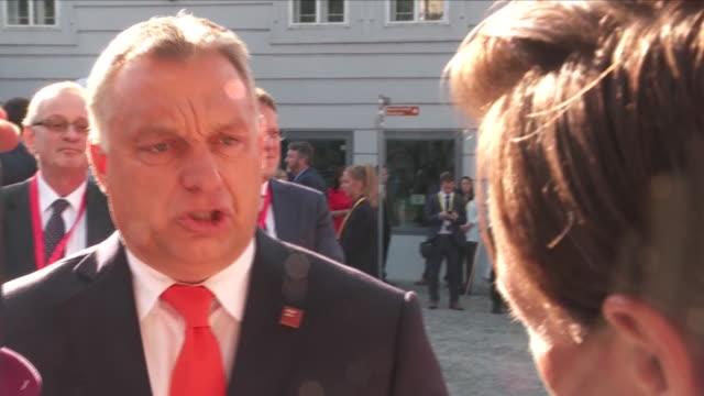 exterior interview with hungarian prime minister viktor orban on brexit negotiations on 20 september 2018 in salzburg, austria - europäische union stock-videos und b-roll-filmmaterial