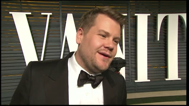 exterior interview with james cordon on february 22 2015 in los angeles california - festa post oscar di vanity fair video stock e b–roll