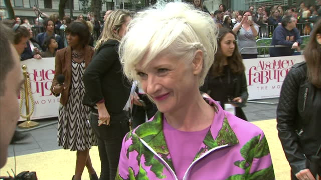 exterior interview with jane horrocks at the premiere of absolutely fabulous the movie speaking about being part of the film and her outfit>> on june... - jane horrocks stock videos & royalty-free footage