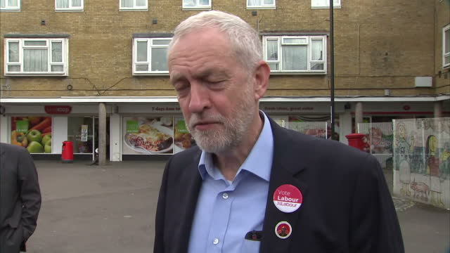 exterior interview with jeremy corbyn leader of the labour party re diane abbott's lbc radio interview mistake re adding 10000 more police officers... - diane abbott stock videos & royalty-free footage