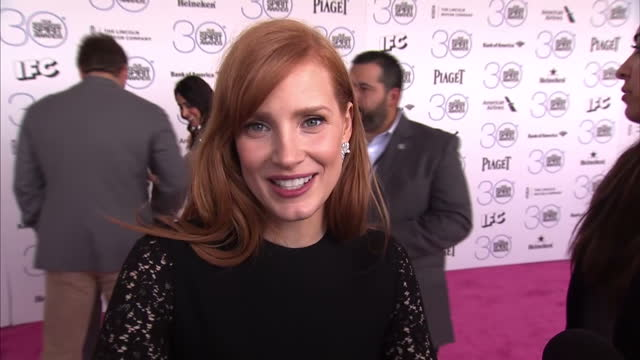 Exterior interview with Jessica Chastain on Oscar nominations on February 23 2015 in Los Angeles California