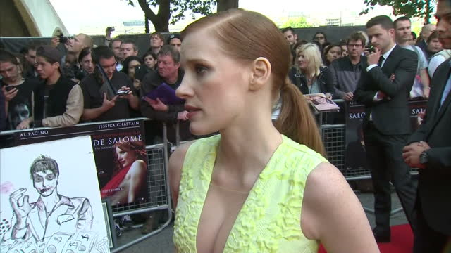 Exterior Interview with Jessica Chastain on the red carpet for the film premiere of Salome and Wild Salome at BFI Southbank on September 21 2014 in...