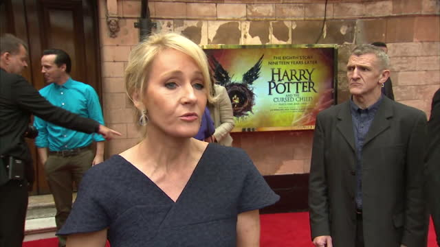 exterior interview with jk rowling author on harry potter and the cursed child red carpet outside the palace theatre talks about working on the stage... - j.k. rowling stock videos and b-roll footage