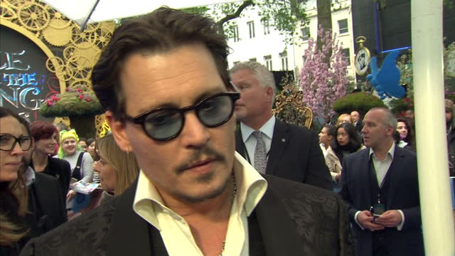 Exterior Interview with Johnny Depp on the red carpet of the European Premiere of Alice Through The Looking glass speaking about playing the Mad...