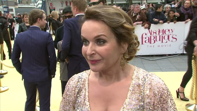 Exterior interview with Julia Sawalha at the premiere of Absolutely Fabulous The Movie speaking about reprising her role as Saffie and not having...