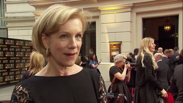exterior interview with juliet stevenson, speaking about not knowing who she will be presenting with a lifetime achievement award, mentioning a few... - juliet stevenson stock videos & royalty-free footage