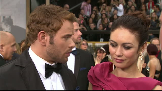 Exterior interview with Kellan Lutz and Olga Kurylenko on March 02 2014 in Los Angeles California