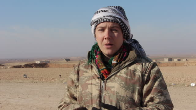 exterior interview with kimberley taylor, a british ypj fighter, on her motivation for joining the fight against isis, on 10 february 2017 in kheniz,... - people's protection units stock videos & royalty-free footage