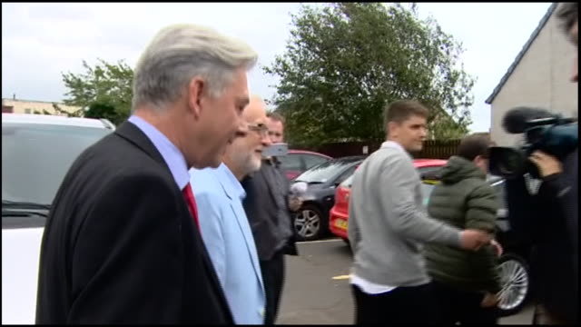 exterior interview with labour leader jeremy corbyn mp on the response to the proposed shutdown of parliament on 30 august 2019 in dunfermline... - dunfermline stock videos & royalty-free footage