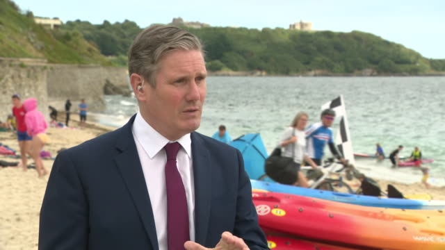 GBR: Keir Starmer visits the South West for the first time as Labour leader to speak with beachfront businesses in Falmouth