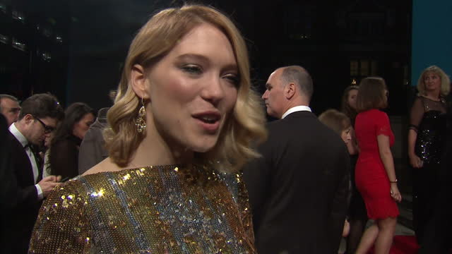 Exterior interview with Lea Seydoux on the red carpet at the Royal World Premiere of 'Spectre' at Royal Albert Hall on October 27 2015 in London...