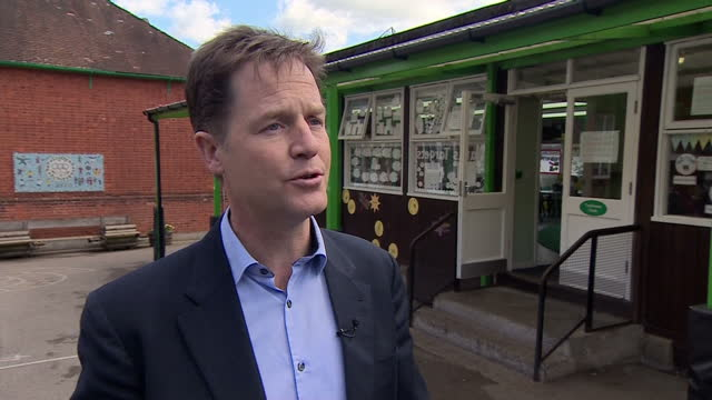 exterior interview with liberal democrat leader nick clegg on the tory election campaign, proposed tory cuts etc on april 29, 2015 in chippenham,... - チッペナム点の映像素材/bロール