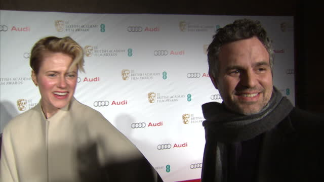 exterior interview with mark ruffalo and wife sunrise coigney at kensington palace on february 07 2015 in london england - mark ruffalo stock videos and b-roll footage