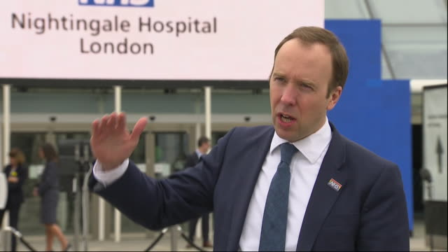 exterior interview with matt hancock mp, health secretary, at the new nhs nightingale hospital at the excel centre prior to its launch on 3 april... - nightingale stock videos & royalty-free footage