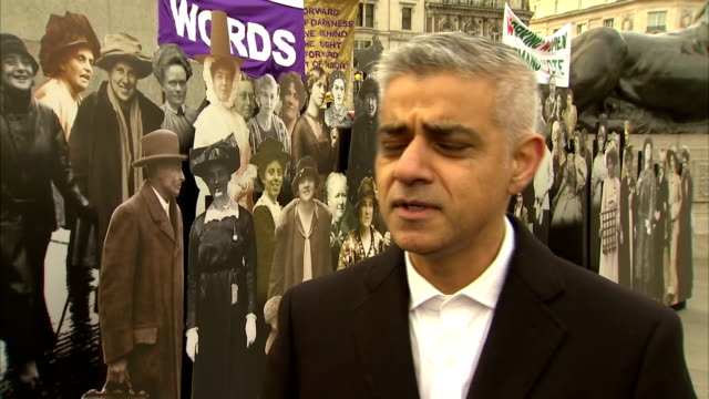 Exterior interview with Mayor of London Sadiq Khan reflecting on 100 years since the passing of the Representation of the People Act that granted...