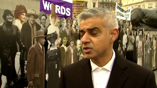 Exterior interview with Mayor of London Sadiq Khan speaking about the importance of remembering the legacy of the suffragettes and suffragists who...