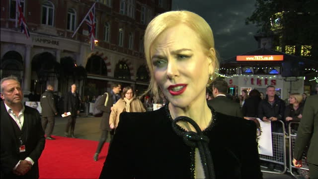 Exterior interview with Nicole Kidman speaking about her role as Sue Brierley in the film 'Lion' >> on October 12 2016 in London England