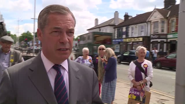 exterior interview with nigel farage campaigning in the general election and signing books on 3rd june 2017 thurrock england - thurrock stock videos and b-roll footage