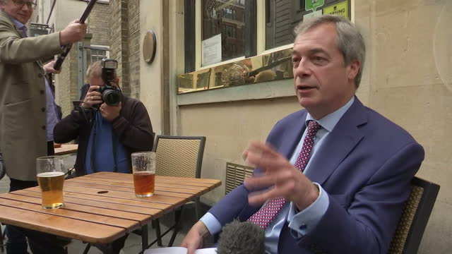 Exterior interview with Nigel Farage Former Leader of UKIP with a pint in his hand about celebrating that Article 50 has been invoked triggering the...
