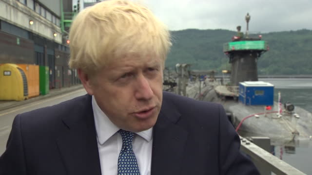 exterior interview with pm boris johnson during his visits to hms victorious at hm naval base clyde on 29 july 2019 in faslane, scotland - boris johnson stock videos & royalty-free footage