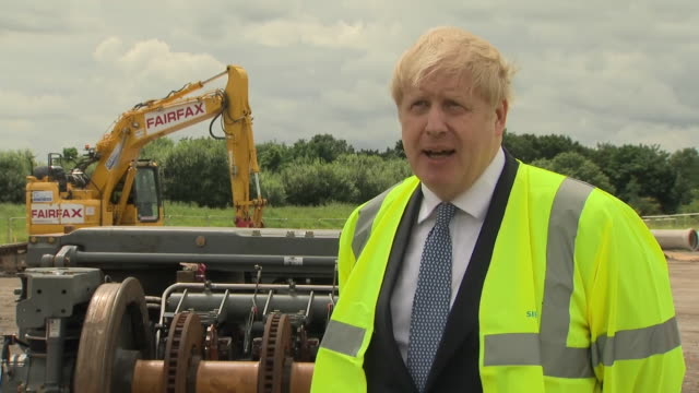 GBR: Boris Johnson visits a Yorkshire train building site and announces 700 new jobs