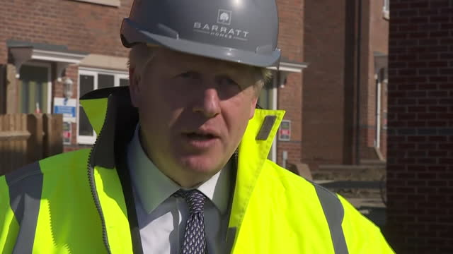 exterior interview with prime minister boris johnson on plans to guarantee mortgages for first time buyers on 19 april 2021 in stonehouse, united... - 出来事の発生点の映像素材/bロール