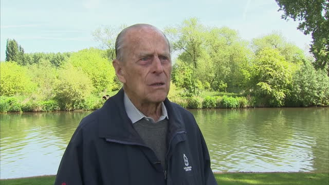 Exterior interview with Prince Philip Duke of Edinburgh speaking about his memories of competitive carriage driving saying that he tended to excel...