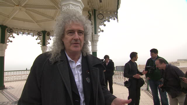 Exterior interview with Queen's Brian May on the Green Party's Common Decency campaign on April 13 2015 in Brighton England