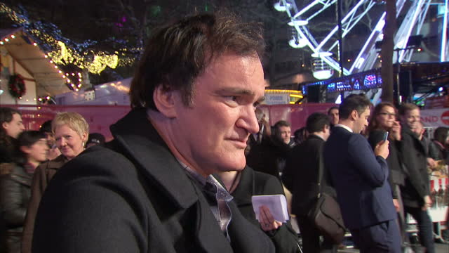 Exterior interview with Quentin Tarantino at the Hateful Eight Premiere at Leicester Square on December 10 2015 in London England