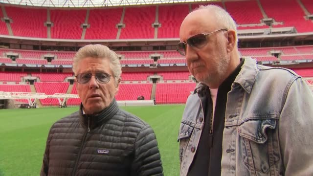 exterior interview with roger daltrey and pete townshend on the pitch of wembley stadium on prospects of brexit on 17 march 2019 in london, united... - roger daltrey stock videos & royalty-free footage