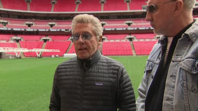 exterior interview with roger daltrey and pete townshend on the pitch of wembley stadium on their relationships within the band 17 march 2019 in... - roger daltrey stock videos & royalty-free footage