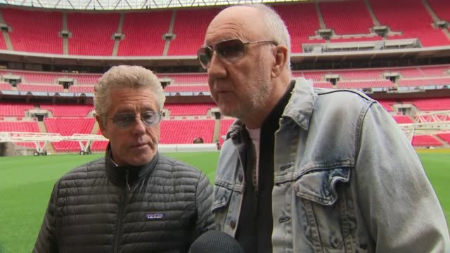 Exterior interview with Roger Daltrey and Pete Townshend on the pitch of Wembley Stadium on the 'MeToo' movement on 17 March 2019 in London United...