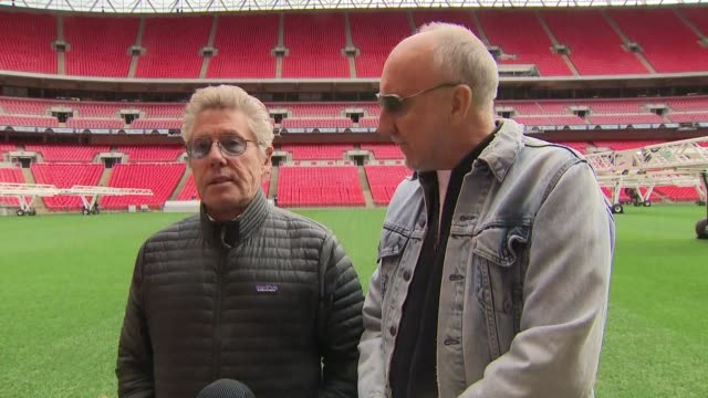 exterior interview with roger daltrey and pete townshend on the pitch of wembley stadium announcing a new tour on 17 march 2019 in london, united... - roger daltrey stock videos & royalty-free footage