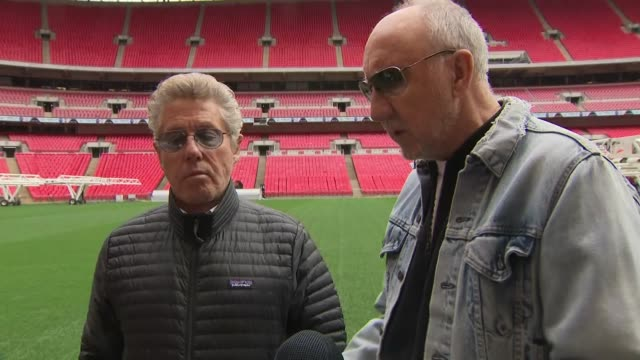 exterior interview with roger daltrey and pete townshend on the pitch of wembley stadium on their relationships within the band on 17 march 2019 in... - roger daltrey stock videos & royalty-free footage