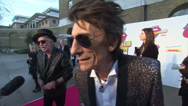 Exterior interview with Ronnie Wood speaking about the launch of the Rolling Stones Exhibitionism experience at the Saatchi Gallery looking forward...