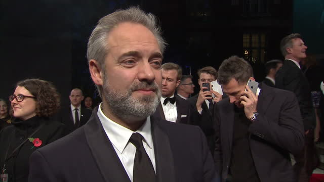 exterior interview with sam mendes on the red carpet at the royal world premiere of 'spectre' at royal albert hall on october 27 2015 in london... - sam mendes stock videos & royalty-free footage