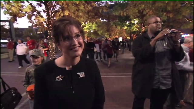 Exterior interview with Sarah Palin at the 2008 Republican Convention before she greets smiling supporters on November 1 2008 in Columbus Ohio