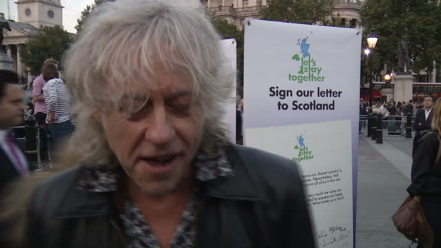 exterior interview with sir bob geldof singer author song writer re scottish independence voting no on september 15 2014 in edinburgh scotland - bob geldof stock videos & royalty-free footage