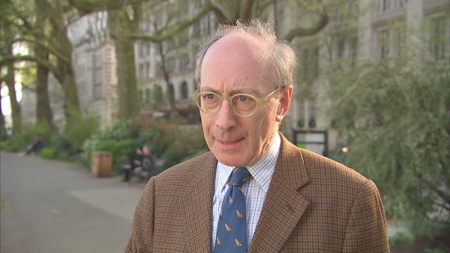 exterior interview with sir malcom rifkind on the us airstrikes on syria on 7 april 2017 in london united kingdom - バッシャール・アル=アサド点の映像素材/bロール